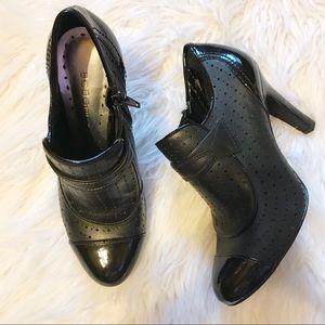 Leather BCBGirls zip heeled shoes/booties